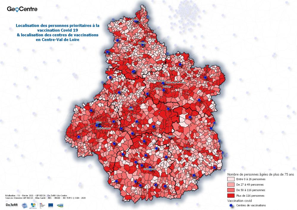 Carte COVID personnes vulnérables et centres vaccinations en Centre-Val de Loire